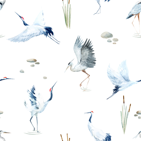 Beautiful vector pattern with nice watercolor hand drawn cranes