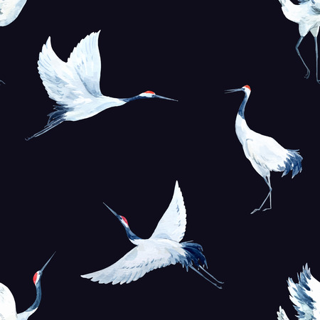 crane: Beautiful vector pattern with nice watercolor hand drawn cranes