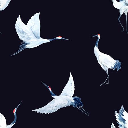 Schöne Vektor-Muster mit schönen Aquarell von Hand gezeichnet Kränen