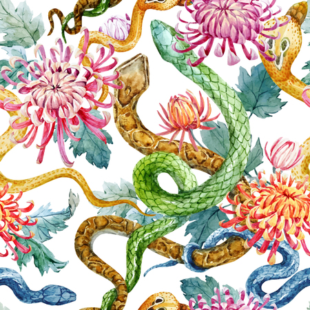 Beautiful pattern with hand drawn watercolor snakes and flowers Ilustração