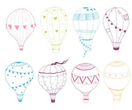 blimp: Beautiful vector set of nice hand drawn air baloons