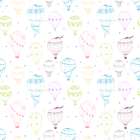 blimp: Beautiful vector pattern with nice hand drawn air baloons