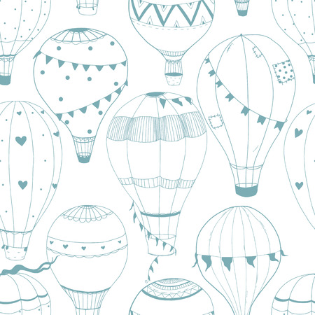 child drawing: Beautiful vector pattern with nice hand drawn air baloons