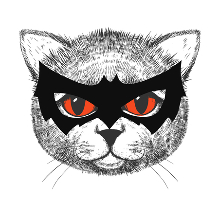 Beautiful vector image of smart and cute hand drawn cat
