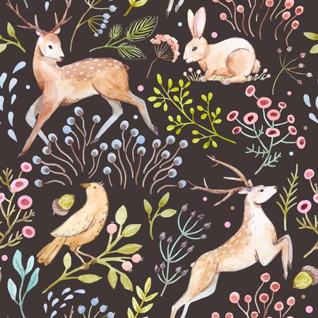 Mooi vector patroon met mooie hand getekende aquarel herten konijnen vogels en bessen