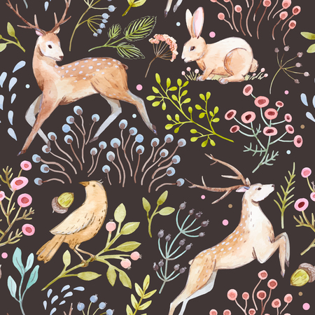 Beautiful vector pattern with nice hand drawn watercolor deers rabbits birds and berries
