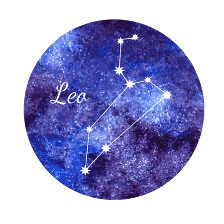 Watercolor horoscope sign Leo