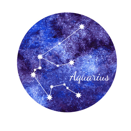 zodiacal symbol: Watercolor horoscope sign Aquarius