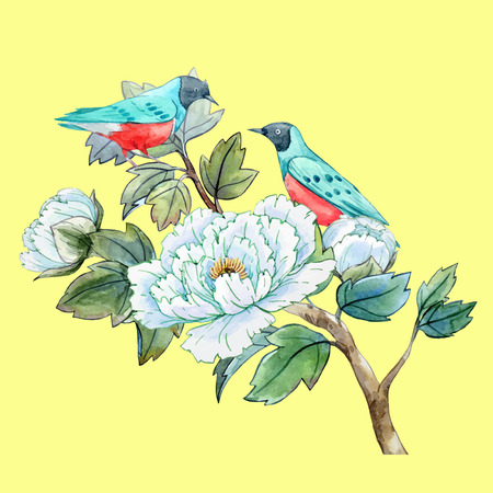 birds in tree: Watercolor chinese peony flower