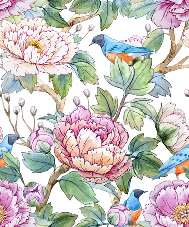 Watercolor floral chinese pattern Иллюстрация