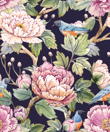 tree design: Watercolor floral chinese pattern Illustration