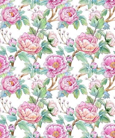 수채화 꽃 중국어 패턴 일러스트