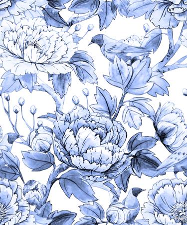 flores chinas: Acuarela floral chino patrón Vectores