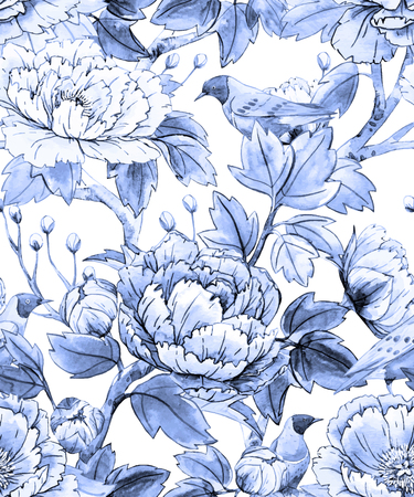 Watercolor floral chinese pattern Stock Illustratie