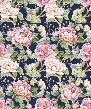 tree peony: Watercolor floral chinese pattern Illustration
