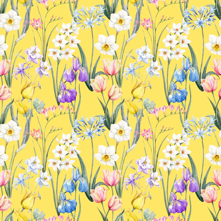수채화 벡터 꽃 패턴