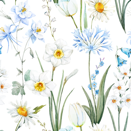 Acuarela vector de patrón floral