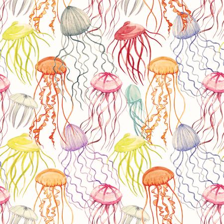 Watercolor jellyfish pattern Stock Photo - 90771708