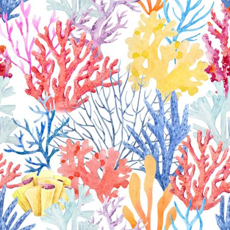 水彩画のコラーパターン 写真素材