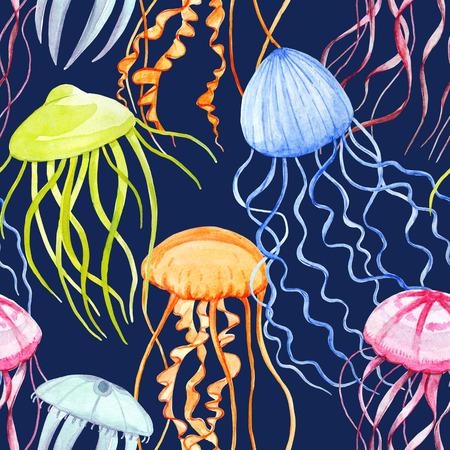 Watercolor jellyfish pattern Standard-Bild