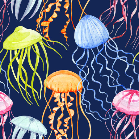 Watercolor jellyfish pattern Zdjęcie Seryjne