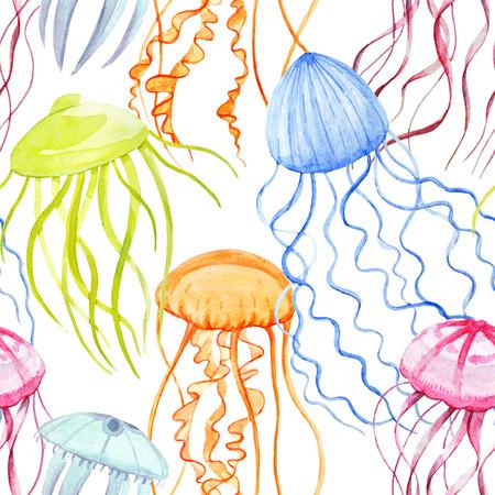 Watercolor jellyfish pattern Stock Photo