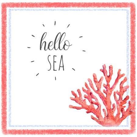 수채화 산호 구성 일러스트