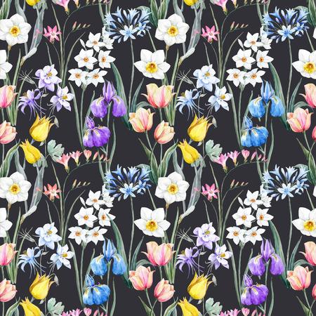 Watercolor vector floral pattern Zdjęcie Seryjne - 70668717
