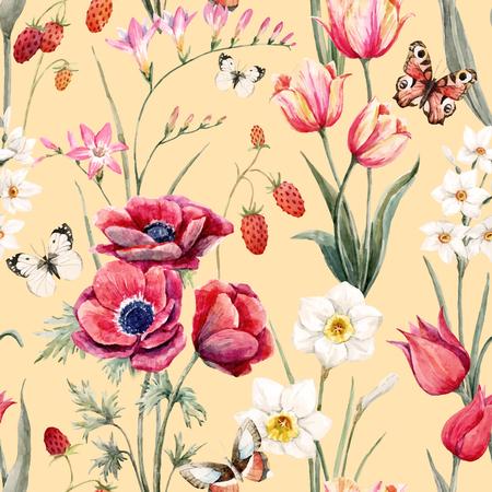 Watercolor vector floral pattern
