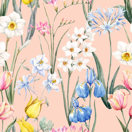 水彩ベクトル花柄