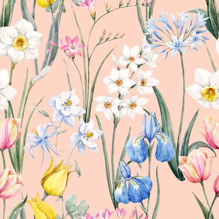 Watercolor vector bloemmotief Stock Illustratie