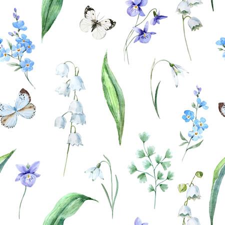 Watercolor vector spring floral pattern Ilustração