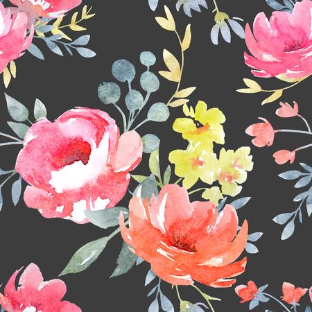 Watercolor vector bloemmotief Stockfoto - 70970929