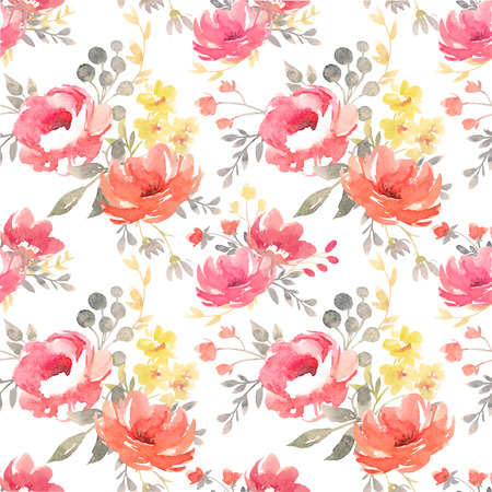 fabric patterns: Watercolor vector floral pattern