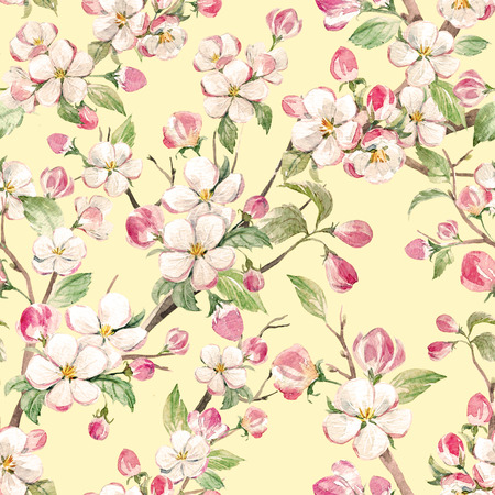 pattern: Watercolor spring floral pattern Stock Photo