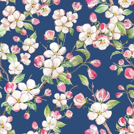 Reticolo floreale primavera acquarello Archivio Fotografico
