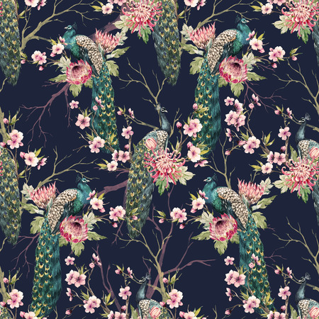 new plant: Watercolor peacock pattern Stock Photo