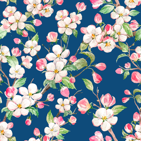 cherry tree: Watercolor vector spring floral pattern Illustration