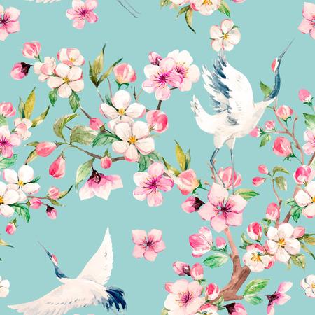 Akwarela żuraw z kwiatami wektor wzór
