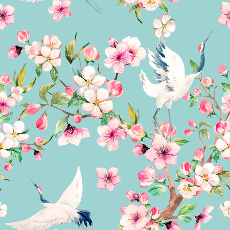 Watercolor crane with flowers vector pattern Stock Illustratie