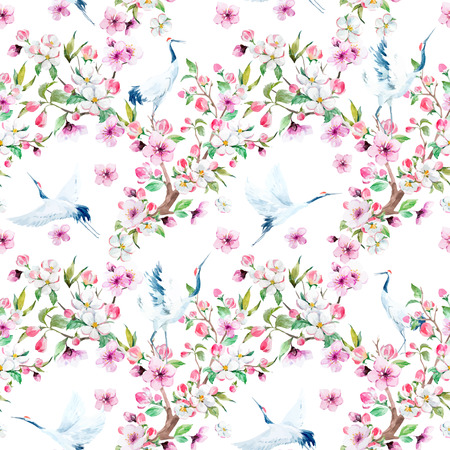 flower patterns: Watercolor crane with flowers vector pattern Illustration