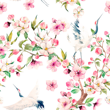 flower leaf: Watercolor crane with flowers vector pattern Illustration