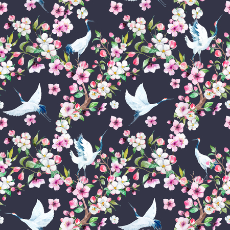Watercolor crane with flowers vector pattern Vettoriali