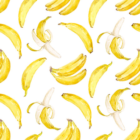 Watercolor vector banana pattern.