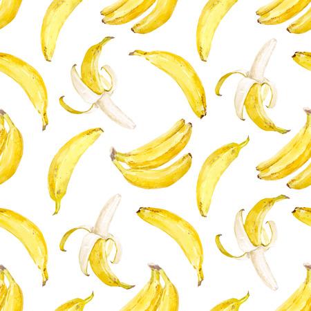 seamless floral: Watercolor vector banana pattern.