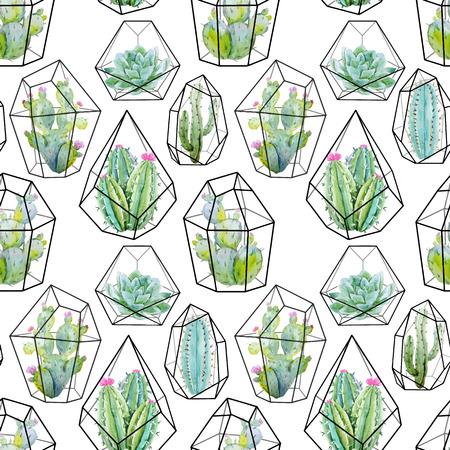 pattern: Watercolor vector cactus pattern
