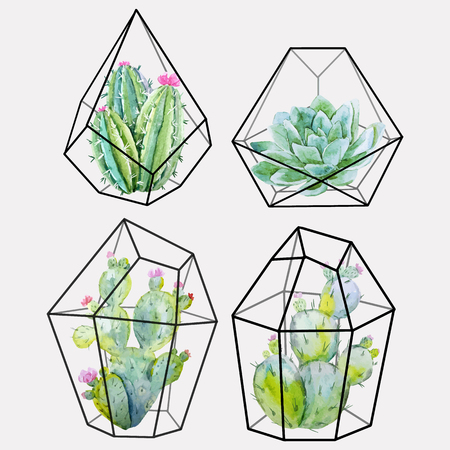 Waterverf cactus vector set