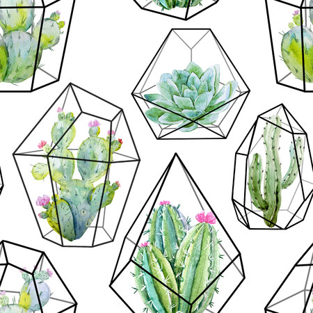 pattern: Watercolor cactus pattern