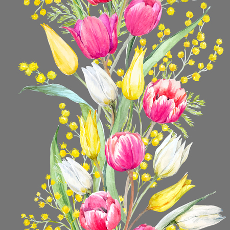 Watercolor mimosa and tulip vector pattern