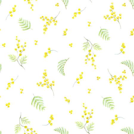 Watercolor mimosa pattern Stock Photo